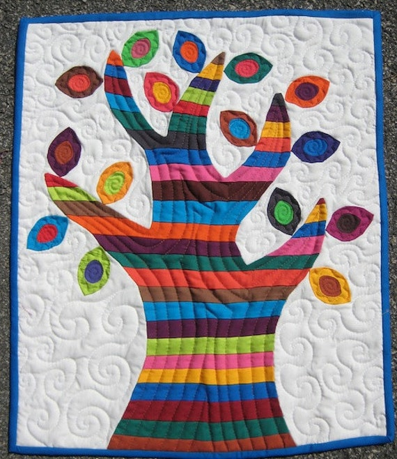 Colorful Tree of Life - Applique Mini Quilt, Wall Quilt, Quilted Hanging