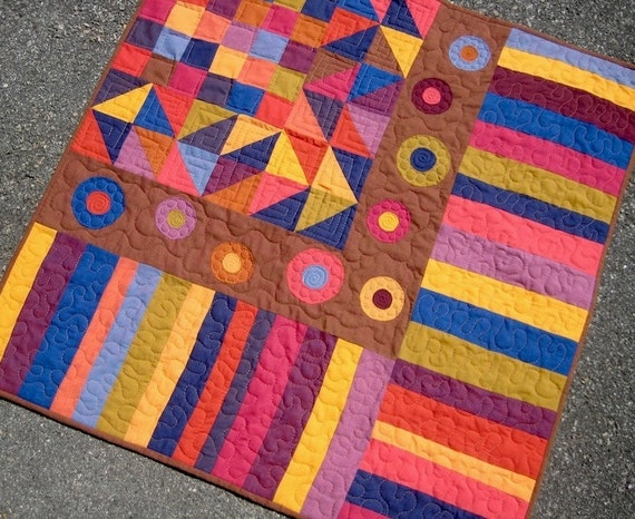 Modern Patchwork and Applique Baby Quilt - Shot Cotton Circles, Squares, and Stripes