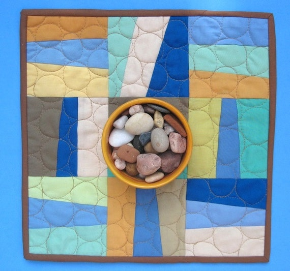 Wonky Slanting Stripes in Shades of Sand and Stone - Modern Quilted Table Runner, Mini Quilt, or Wall Hanging