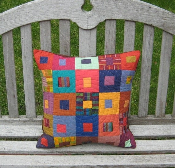 Modern Patchwork and Quilted Decorative Throw Pillow - Multicolored Stripes in a Simple Square Design
