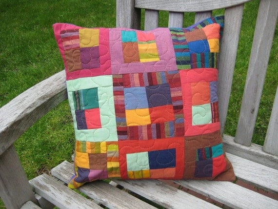 Modern Patchwork and Quilted Decorative Throw Pillow - Multicolored Stripes in a Squares and Strips Design