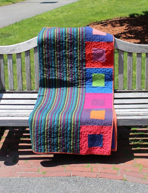 Modern Patchwork Quilt - Stripes and Squares in Blue, Green, and Orange