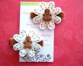 Little Gingerbread Felt Hairclip Set