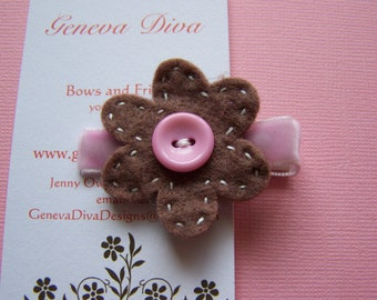 Brown and pink hand stitched Felt flower