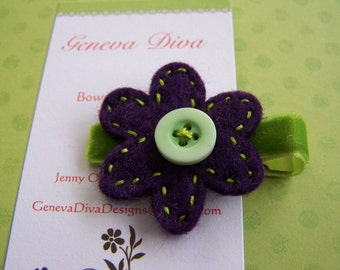 Purple felt flower hand stitched hairclip