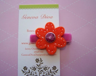 Small Orange and Hot pink felt hand stitched hairclip