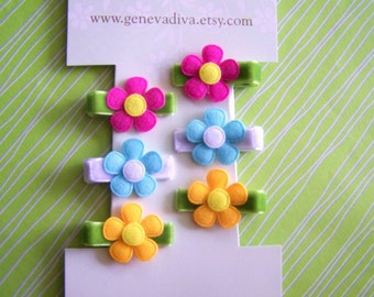 Set of 6 MINI clippies...felt flower pigtail clips