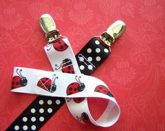 Set of 2 Ladybug and Polka-Dot Pacifier Clips