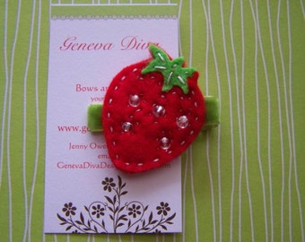 Double layer felt strawberry hairclip