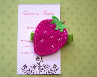 Double layer felt strawberry hairclip in hot pink