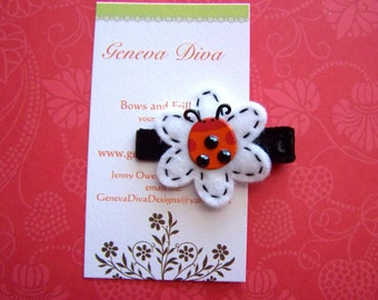 NEW....Mod Little Ladybug with white flower