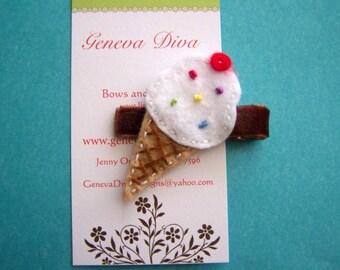 Yummy Vanilla Felt Ice Cream Cone Hairclip