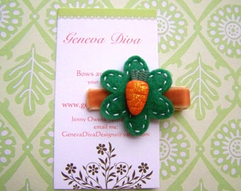 Orange Glitter Carrot Felt Flower Hairclip