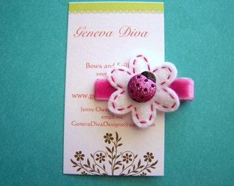 Hot Pink Little Ladybug Felt Flower Clip