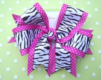 Zebra and Polka Dots XL Diva Bow