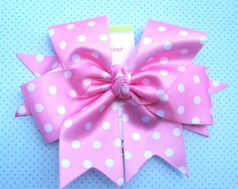 Bubble Gum Pink With White Polka-Dots XL Diva Bow