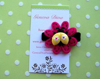 Little Yellow Ladybug Felt Flower Clip