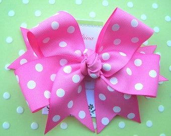 Bubble Gum Pink With White Polka-Dots Grosgrain XL Diva Bow