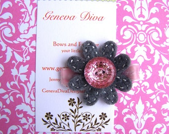 Gray with Pink Bling Felt Flower Hairclip