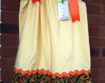 OOAK Size 4T-5T Sunflowers and Acorns Pillowcase Dress