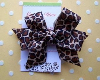Leopard Print Classic Diva Bow