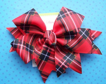 Mad For Plaid.....Red and Black XL Diva Bow