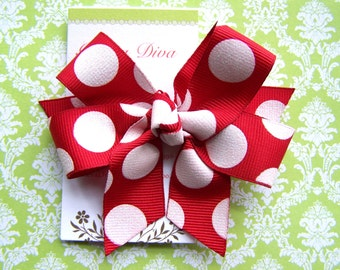 Red with White Glitter Dots Classic Diva Bow
