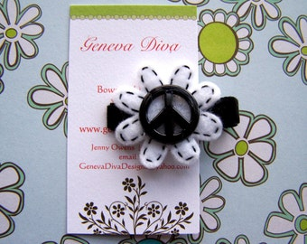 Peace and Flowers....Handstitched Felt Flower Hairclip in Black