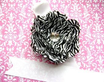 Zebra Print Peony Flower Bowholder