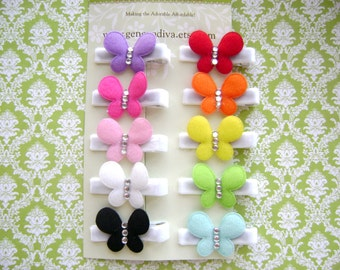 NEW....Set of 10 Felt Butterfly Hairclips