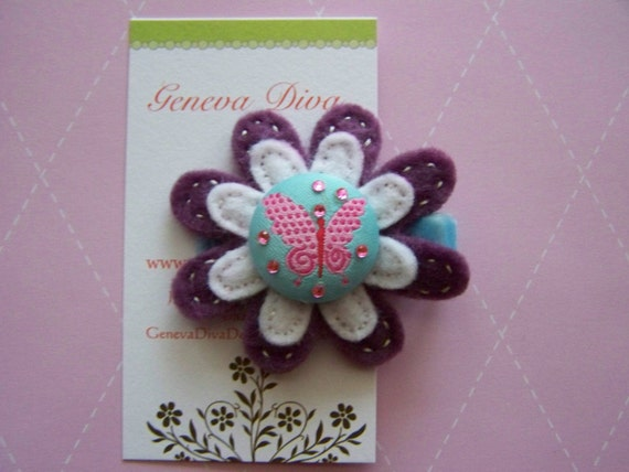 Triple layer felt flower with hand stitching and beautiful butterfly button center hairclip