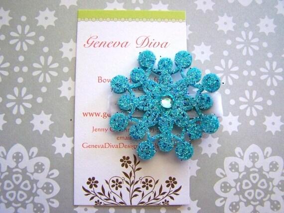Turquoise Blue Glittery Felt Snowflake Clip