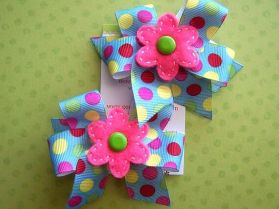 Set of 2 Polka-Dot Pigtail Felt Flower Hairclips