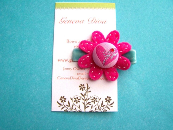 Valentine's Day Hot Pink Double Layer Felt Flower Hairclip