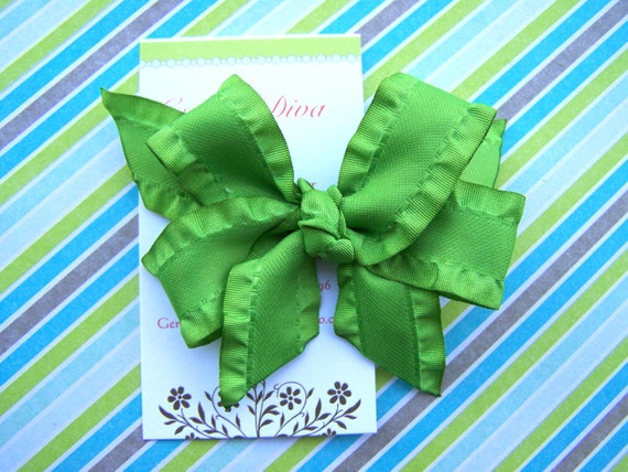 Lime Green Double Ruffle Classic Diva Bow