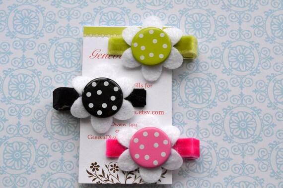 Set of 3 Polka-Dot Felt Flower Clips
