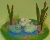 Cattail Pond with Three Aqua Ducklings-needle felted