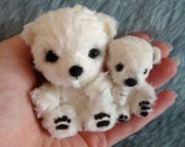 Mummy and baby Artist polar bears FREE SHIPPING