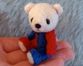 SALE A tiny artist bear called Edward Circus Blue Red Tiny Gift Nursery Deco Baby
