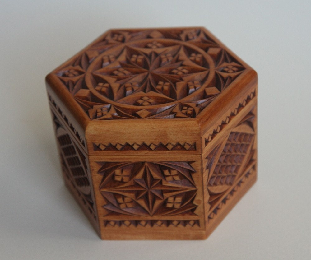 Chip carved hexagon box