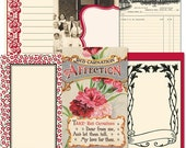 Jenni Bowlin - Red/Black Line Extension Journaling Cards --