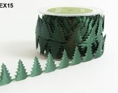Satin Pine Tree Ribbon - Green - 3/4 Inch