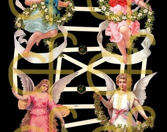 Victorian Scrap - Angels and Garlands - 7371