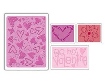 Sizzix - Textured Impressions Embossing Folders - Valentines Set 4pk