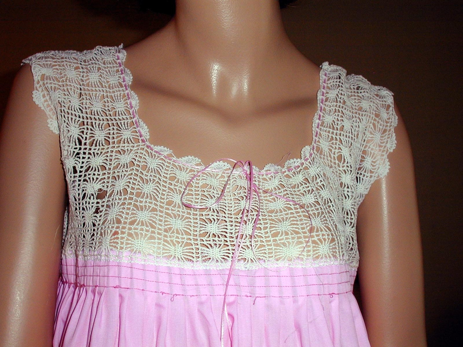 Pink nightgown with crochet yoke crochet yokes from late