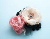 Flower hair fascinator clip or brooch pink black and ivory SUPER SALE