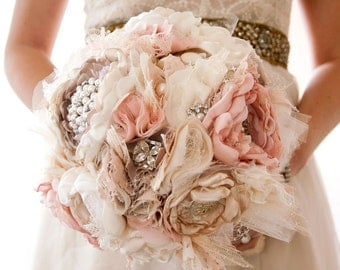 Brooch Bouquet, Fabric Wedding Bouquet, Silk flower style Cabbage Roses with rhinestone and pearl brooches, Shabby Chic Bouquet by Cultivar