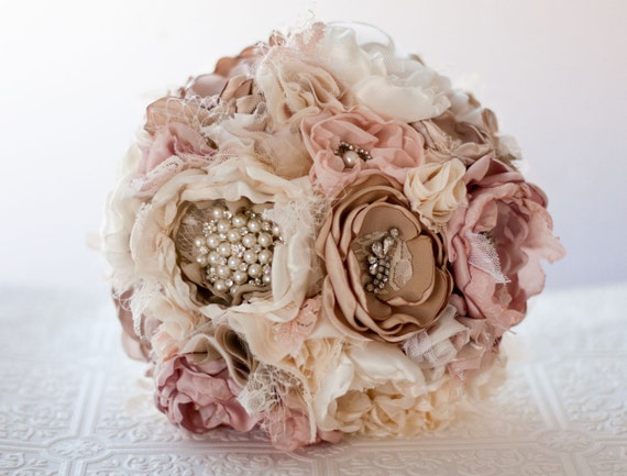 Fabric Flower Custom Wedding Bouquet, Samantha,  with rhinestone and pearl brooches, choose your colors