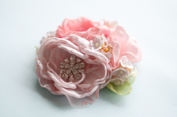 Hair flower fascinator clip or brooch or corsage Pastel pink