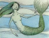 Original 3.5x5 Painting -- Watching the fish swim by
